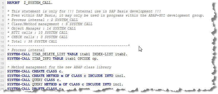 SONAR ABAP System Call