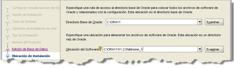 SONAR Install Oracle db_home