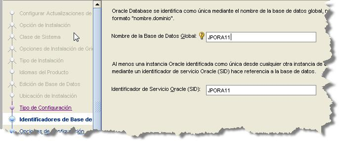 SONAR Install Oracle DB name