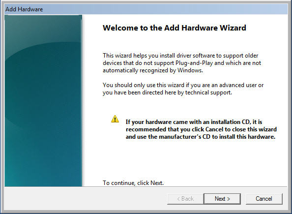 Install Oracle Loopback - Add Hardware Wizzard screen 1