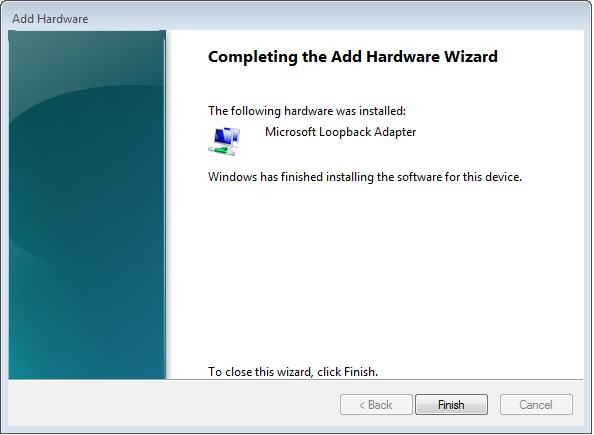 Install Oracle Loopback Adapter - Add Hardware Wizzard screen 6