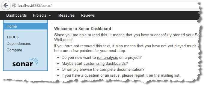 Home page de Sonar après installation